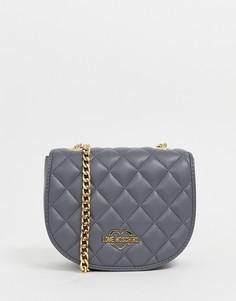 Серая сумка через плечо с золотистым ремешком Love Moschino - Серый