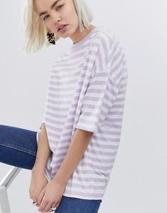 Oversize-футболка в полоску ASOS DESIGN - Фиолетовый