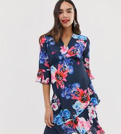 Синее чайное платье миди с запахом и цветочным принтом Blume Maternity - Синий
