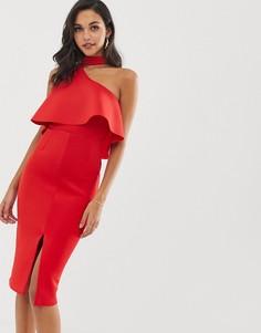 Красное платье миди на одно плечо с высоким воротом Lavish Alice - Красный
