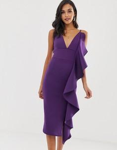 Фиолетовое платье миди с драпировкой и оборками Lavish Alice - Фиолетовый