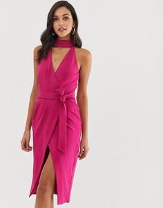 Платье миди с запахом и чокером из ткани понте пурпурного цвета Lavish Alice - Розовый