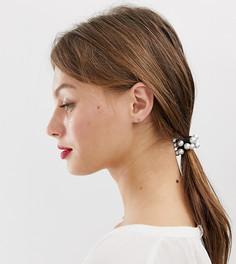 Резинка для волос с искусственным жемчугом DesignB London - Белый