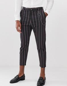 Черные брюки-морковки с розовыми полосками Bershka - Черный