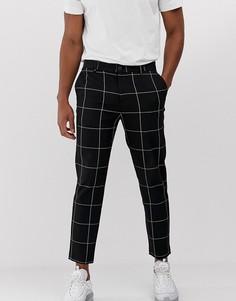 Черные зауженные брюки в клетку Bershka - Черный
