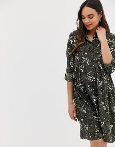 Зеленое платье-рубашка с принтом New Look Maternity - Зеленый