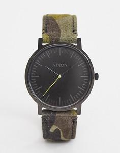 Часы с камуфляжным кожаным ремешком Nixon Porter - 40 мм - Зеленый
