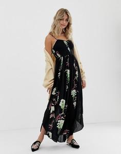 Платье миди с цветочным принтом Free People Beau - Черный