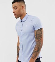 Голубая обтягивающая рубашка с короткими рукавами Gym King эксклюзивно для ASOS - Синий