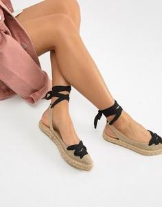 Босоножки со шнуровкой и соломенной подошвой Glamorous - Бежевый