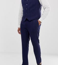Синие зауженные брюки с добавлением шерсти и узором в елочку ASOS DESIGN Plus Wedding - Синий