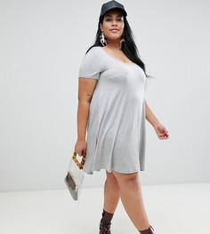 Свободное платье с вырезом капелькой на спине Brave Soul Plus - Серый