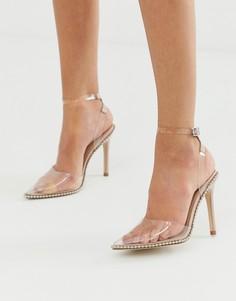 Туфли на высоком каблуке с заостренным носком и заклепками ASOS DESIGN Pixie - Бежевый