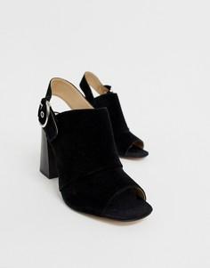 Черные кожаные босоножки на каблуке с пряжкой ALDO Elalyan - Черный