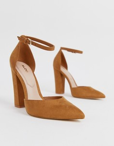Коричневые туфли-лодочки на каблуке с ремешком на щиколотке ALDO Nicholes - Коричневый