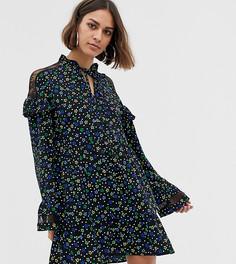 Свободное платье с цветочным принтом и кружевной вставкой COLLUSION - Мульти