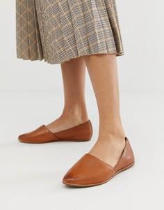 Светло-коричневые кожаные туфли на плоской подошве ALDO - Рыжий
