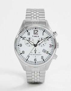 Серебристые часы-хронограф Timex Waterbury - Серебряный
