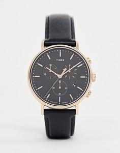 Часы с черным кожаным ремешком и хронографом Timex Fairfield - 41 мм - Черный