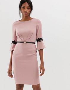 Платье миди с расклешенными рукавами 3/4 Paper Dolls - Розовый