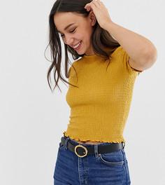 Приталенная футболка с короткими рукавами и сборками ASOS DESIGN Tall - Желтый