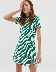 Короткое приталенное платье с зебровым принтом COLLUSION - Белый