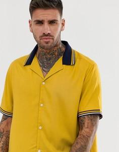 Oversize-рубашка из вискозы с контрастным воротником в рубчик ASOS DESIGN - Синий