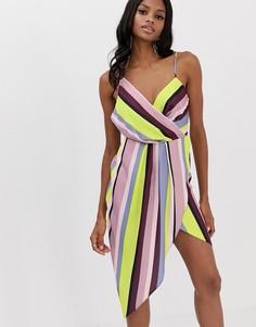 Атласное платье миди в полоску с драпировкой ASOS DESIGN - Мульти