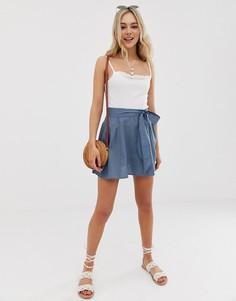 Хлопковая мини-юбка с поясом ASOS DESIGN - Синий