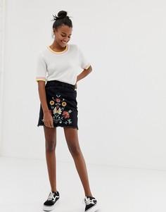 Мини-юбка с вышивкой Brave Soul - Черный