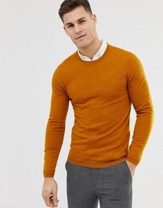 Облегающий джемпер горчичного цвета из мериносовой шерсти ASOS DESIGN - Желтый
