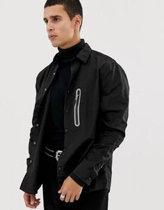 Легкая нейлоновая рубашка навыпуск с отделкой металлик ASOS DESIGN - Черный