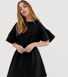 Меланжевое платье мини с оборками на рукавах и поясом ASOS DESIGN Petite - Черный