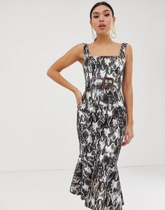 Платье миди со змеиным принтом и поясом ASOS DESIGN - Мульти