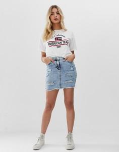 Рваная джинсовая мини-юбка с эффектом кислотной стирки Parisian - Синий