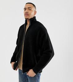 Черная oversize-куртка из искусственного меха ASOS DESIGN Tall - Черный
