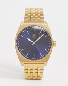 Часы с темно-синим циферблатом Adidas Z02 Process - Золотой