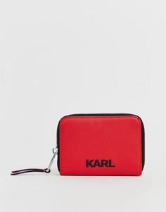 Кошелек на молнии с логотипом Karl Lagerfeld - Красный