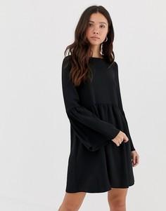 Свободное платье мини с рукавами клеш ASOS DESIGN - Черный