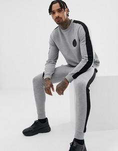 Серый меланжевый спортивный костюм с полосками по бокам (свитшот с принтом на груди/зауженные джоггеры) ASOS DESIGN - Серый