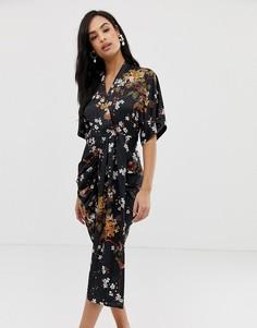 Платье миди с цветочным принтом и драпировкой Liquorish - Мульти