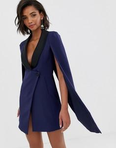 Темно-синее платье-смокинг с контрастными атласными лацканами и кейпом Lavish Alice - Темно-синий