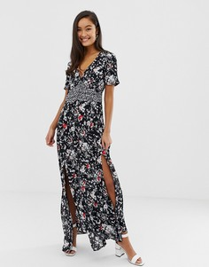 Чайное платье макси с цветочным принтом Miss Selfridge - Черный