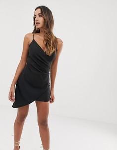 Черное асимметричное платье мини на бретелях Club L - Черный