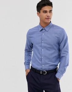 Синяя приталенная рубашка Burton Menswear - Синий