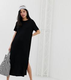 Черное платье-футболка миди с разрезом сбоку Monki - Мульти