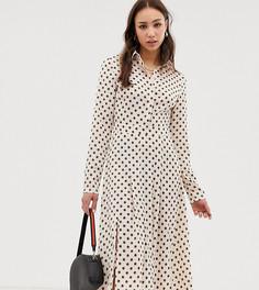 Платье-рубашка миди в горошек с цветочным принтом Glamorous Tall - Кремовый