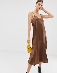 Атласное платье-комбинация Pieces - Коричневый