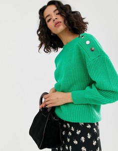 Джемпер с пуговицами на плечах Vero Moda - Зеленый