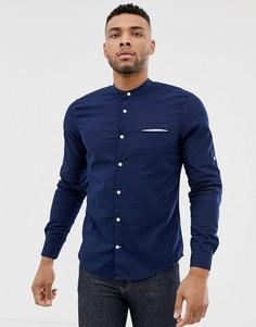 Темно-синяя рубашка с воротником на пуговице Pull&Bear Join Life - Темно-синий